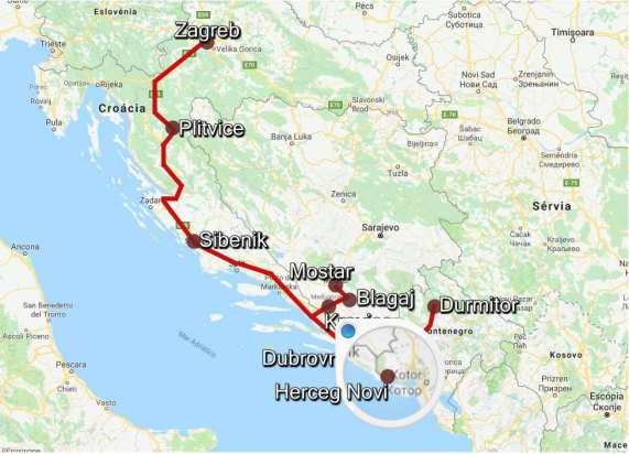 Mapa RoadTrip Herceg Novi